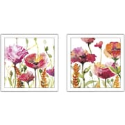 Red Barrel Studio 'Blooms And Buds' 2 Piece Framed Print Set on Glass