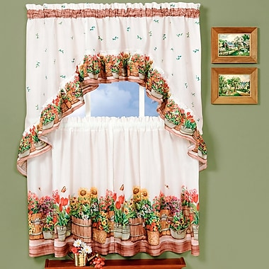 August Grove Cadwell 3 Piece Country Garden - Printed Tier and Swag 57'' Window Curtain Set