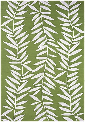 Bay Isle Home Wallingford Bamboo Leaves Hand Hooked Lime Indoor/Outdoor Area Rug; 2' x 4'