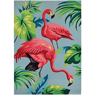 Bay Isle Home Wallingford Flamingos Hand Hooked Multi-Colored Indoor/Outdoor Area Rug; Round 7'10''