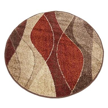 Ebern Designs Bryan Red/Beige Area Rug; Round 3'3''