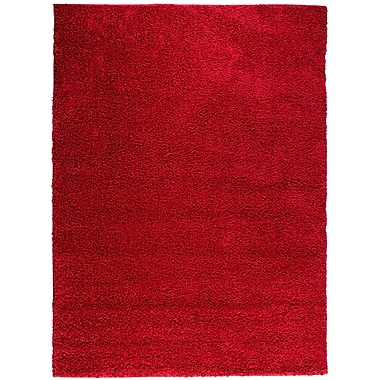 Ebern Designs Reynolds Plain Solid Red Shag Area Rug; 6'7'' x 9'10''
