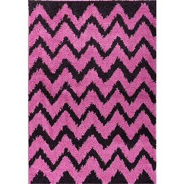 Ebern Designs Reynolds Chevron Fuchsia/Black Area Rug; 3'3'' x 5'3''