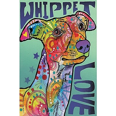East Urban Home Whippet Love Graphic Art on Wrapped Canvas; 18'' H x 12'' W x 0.75'' D