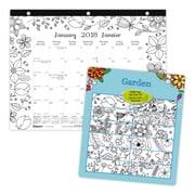 "Blueline® 2018 Monthly Colouring Desk Pad Calendar, Bilingual, Garden, 11"" x 8-1/2"""