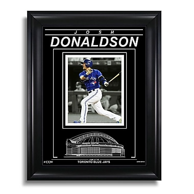 Art of the Sport – Photo encadrée gravée de Josh Donaldson des Blue Jays de Toronto, feu sur l'action H, 15 x 19 po