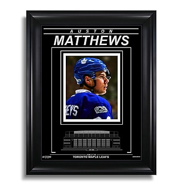 Art of the Sport – Photo encadrée gravée d'Auston Matthews des Maple Leafs de Toronto, gros plan, 15 x 19 po