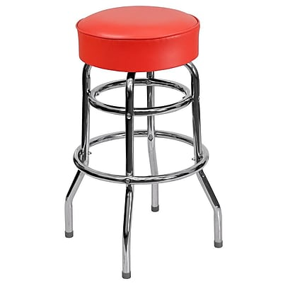 Flash Furniture Double Ring Chrome Barstool with Red Seat (XUD100RED)