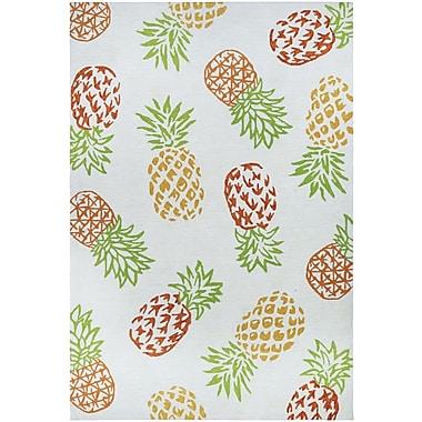 Bay Isle Home Wallingford Pineapples Hand Hooked Sand Indoor/Outdoor Area Rug; 3'6'' x 5'6''