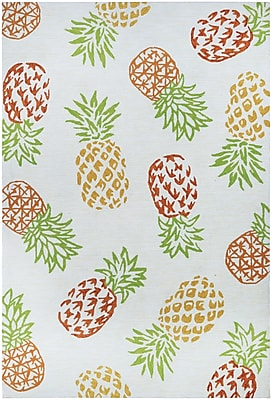 Bay Isle Home Wallingford Pineapples Hand Hooked Sand Indoor/Outdoor Area Rug; Runner 2'6'' x 8'6''