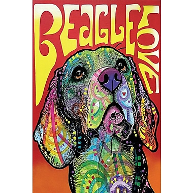 East Urban Home Beagle Love Graphic Art on Wrapped Canvas; 18'' H x 12'' W x 0.75'' D