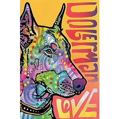 East Urban Home Doberman Love Graphic Art on Wrapped Canvas; 26'' H x 18'' W x 1.5'' D