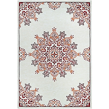 Bungalow Rose Delmon Hand Hooked Sand/Red Indoor/Outdoor Area Rug; Runner 2'6'' x 8'6''