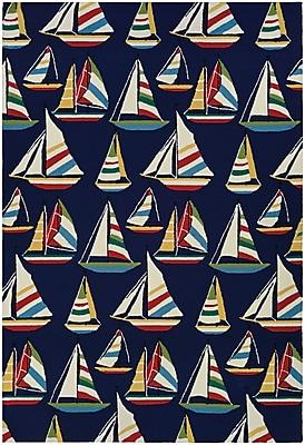 Breakwater Bay Emmeline Yachting Hand Hooked Navy Indoor/Outdoor Area Rug; 2' x 4'
