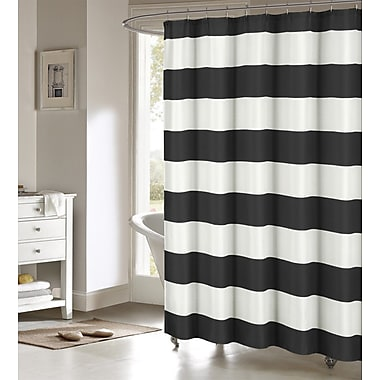 Breakwater Bay Ivanna Shower Curtain; Black/White