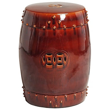 Bloomsbury Market Iona Drum Garden Stool; Red