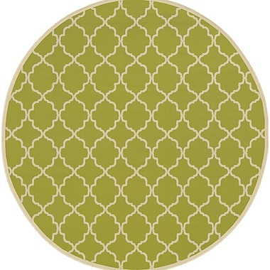 Ebern Designs Heath Green/Ivory Geometric Indoor/Outdoor Area Rug; 7'10'' x 10'10''