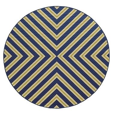 Ebern Designs Heath Blue/Ivory Zig Zag Indoor/Outdoor Area Rug; Round 7'10''