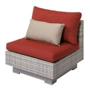 Longshore Tides Meleri Patio Wicker Middle Chair w/ Sunbrella Cushion; Red/Beige