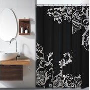 Red Barrel Studio Bloomfield Large Floral Shower Curtain; Black by