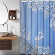 Red Barrel Studio Bloomfield Large Floral Shower Curtain; Blue Champagne by