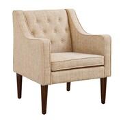 Charlton Home Zaftig Tufted Back Arm Chair; Gray