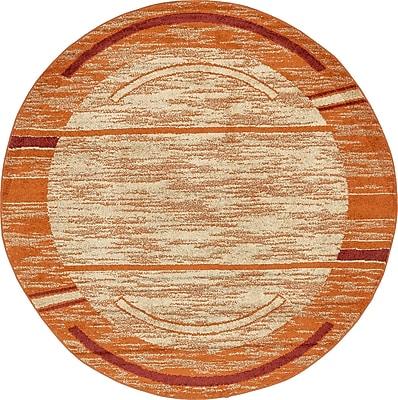 Ebern Designs Bryan Terracotta Tibetan Area Rug; Round 8'
