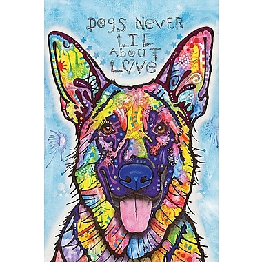 East Urban Home Dogs Never Lie About Love Graphic Art on Wrapped Canvas; 12'' H x 8'' W x 0.75'' D