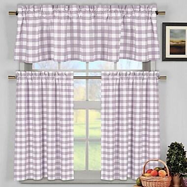 Loon Peak Guyette 3 Piece Kitchen Curtain Set; Lilac
