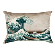 Latitude Run Raritan The Great Wave Leather Pillow Cover; Green/Brown