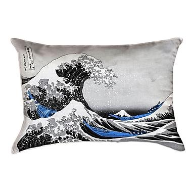 Latitude Run Raritan The Great Wave Cotton Lumbar Pillow; Blue