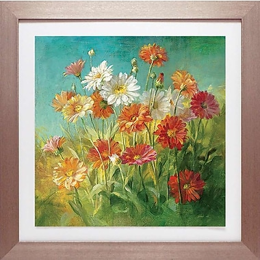 Red Barrel Studio 'Painted Daisies' Framed Graphic Art Print; 18'' H x 18'' W