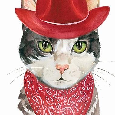 Harriet Bee 'Cowboy Cat' Framed Painting Print; 60'' H x 40'' W