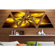 'Shiny Gold Fractal Flower on Black' Graphic Art Print Multi-Piece Image on Wrapped Canvas