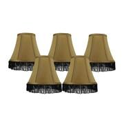 Rosdorf Park Fringe 6'' Silk Bell Lamp Shade (Set of 5) (Set of 5); Gold with Black Fringe