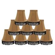 Rosdorf Park Fringe 5'' Silk Bell Candelabra Shade Set of 9 (Set of 9); Gold with Black Fringe