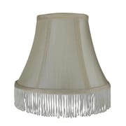 Rosdorf Park Fringe 6'' Silk Bell Lamp Shade; Cream with Cream Fringe