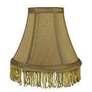 Rosdorf Park Fringe 6'' Silk Bell Lamp Shade; Gold with Gold Fringe