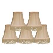 Rosdorf Park Fringe 5'' Silk Bell Candelabra Shade Set of 5 (Set of 5); Cream with Cream Fringe