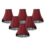 Rosdorf Park Fringe 6'' Silk Bell Lamp Shade (Set of 6) (Set of 6); Burgundy with Black Fringe