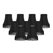 Rosdorf Park Fringe 5'' Silk Bell Candelabra Shade Set of 9 (Set of 9); Black with Black Fringe