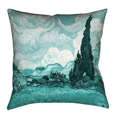 Alcott Hill Woodlawn Wheatfield w/ Cypresses Cotton Indoor Throw Pillow; 26'' x 26''