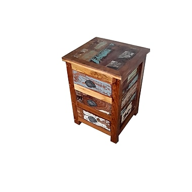 Bungalow Rose Binney Hand Painted End Table; Rich Brown