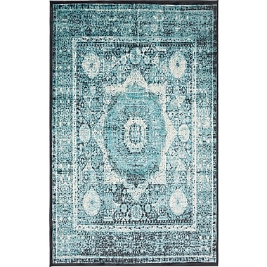 Bungalow Rose Yareli Blue/Black Area Rug; 5' x 8'