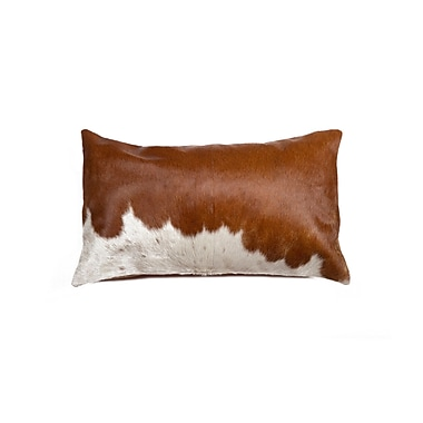 Bloomsbury Market Graham Hand Woven Natural Cowhide Lumbar Pillow