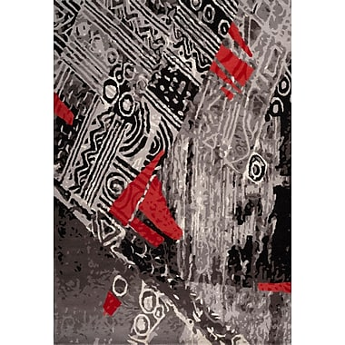 Bloomsbury Market Cleavenger Hand-Tufted Gray/Red Area Rug; 5' x 7'3''