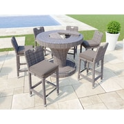 Ancona Bellariva Aluminum Rattan 7 Piece Bar Set w/ Cushions by