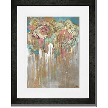Mercer41 'Flowers w/ Gold' Framed Print; Black