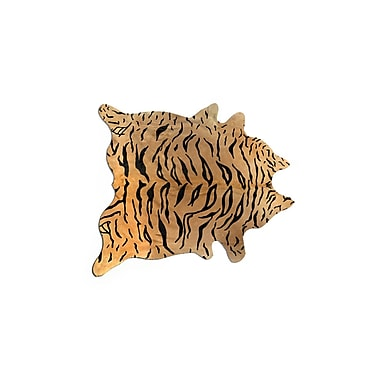 Bloomsbury Market Grady Hand-Woven Cowhide Tiger Chocolate/Beige Area Rug
