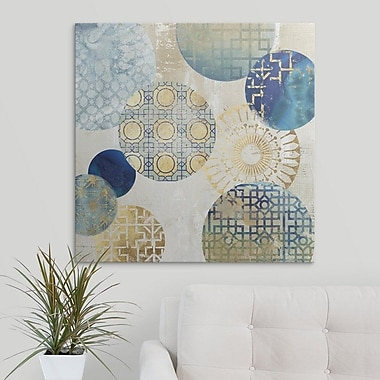 Bungalow Rose 'Gold Rings II' Graphic Art Print on Canvas; 12'' H x 12'' W x 1.5'' D